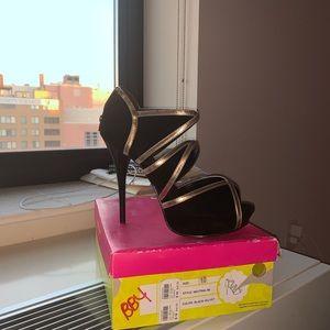 Black and Gold Cutout Heel w/ Box